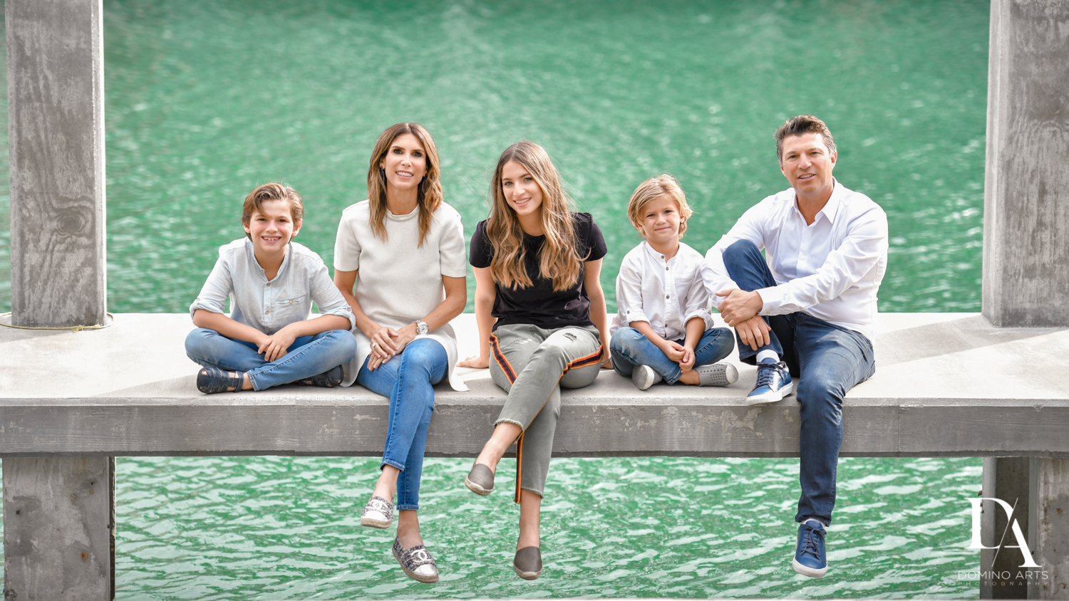 Family at Waterfront Photo Session in Miami by Domino Arts Photography