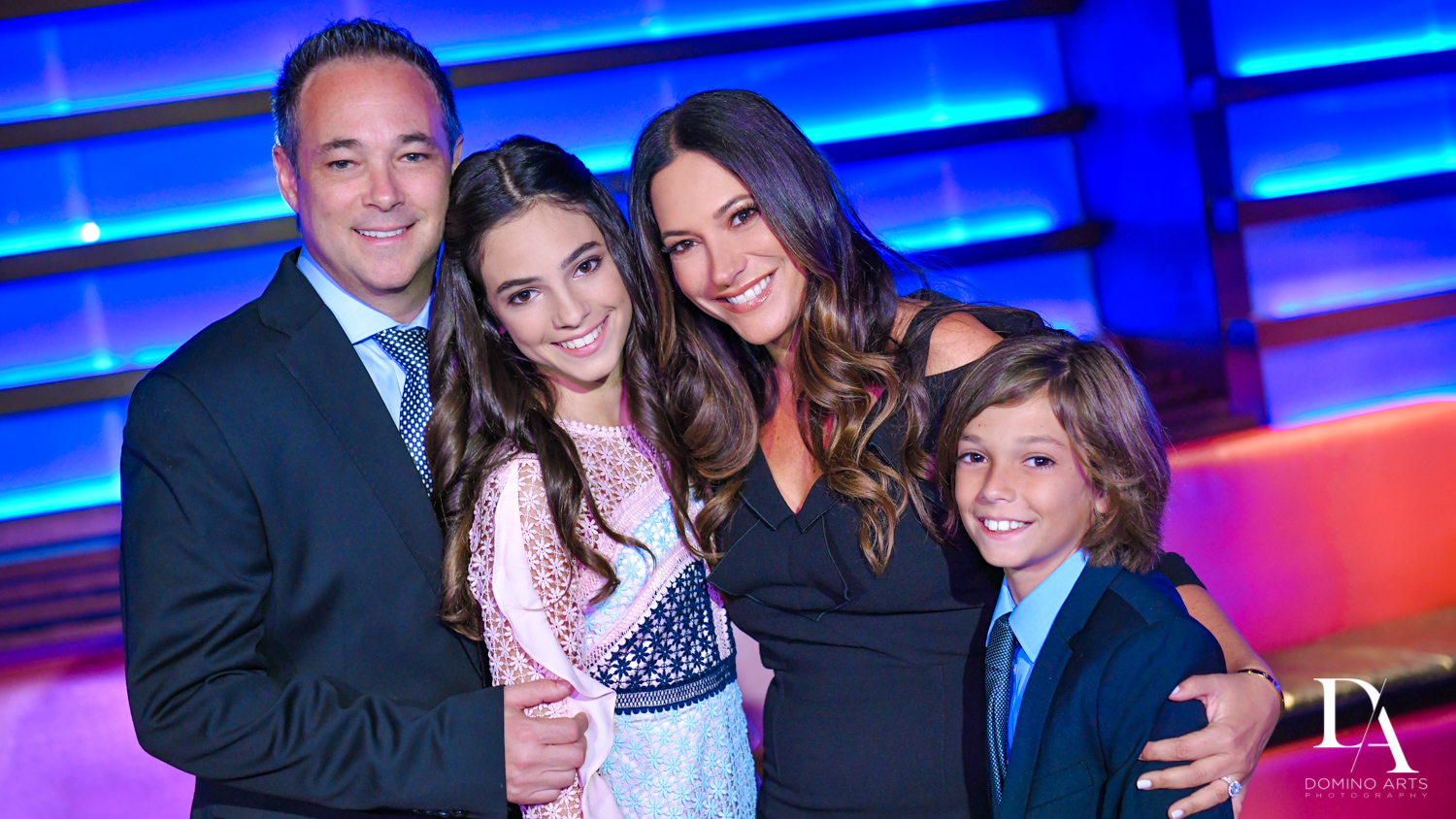 family pictures at Nightclub Bat Mitzvah at LIV in Fontainebleau Miami by Domino Arts Photography