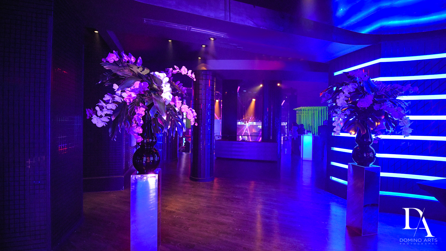 neon decor at Nightclub Bat Mitzvah at LIV in Fontainebleau Miami by Domino Arts Photography