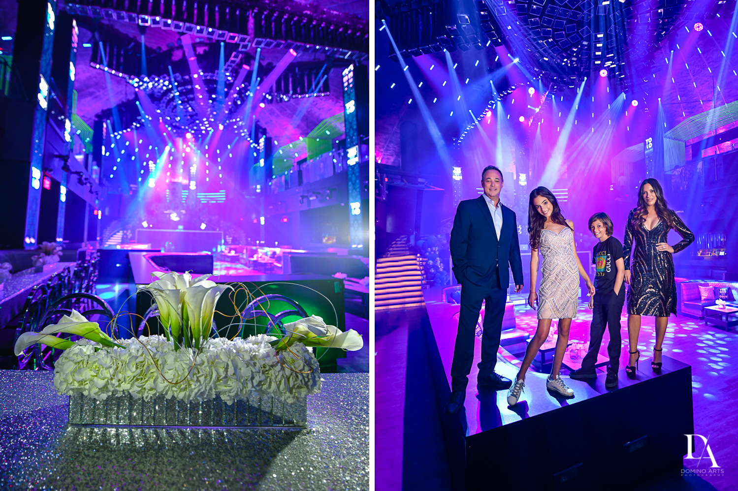 decor and portraits at Nightclub Bat Mitzvah at LIV in Fontainebleau Miami by Domino Arts Photography