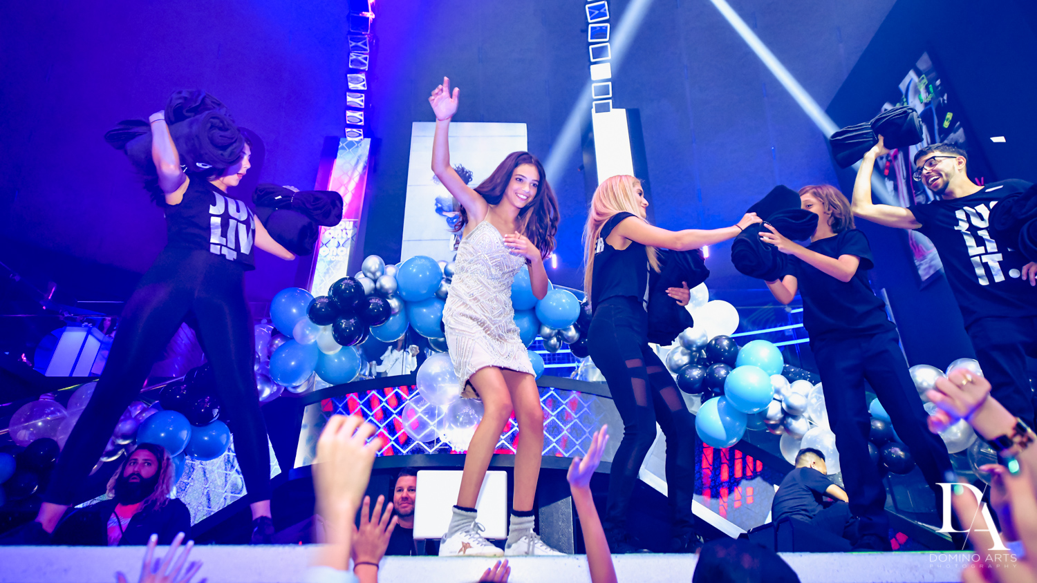dancing at party at Nightclub Bat Mitzvah at LIV in Fontainebleau Miami by Domino Arts Photography