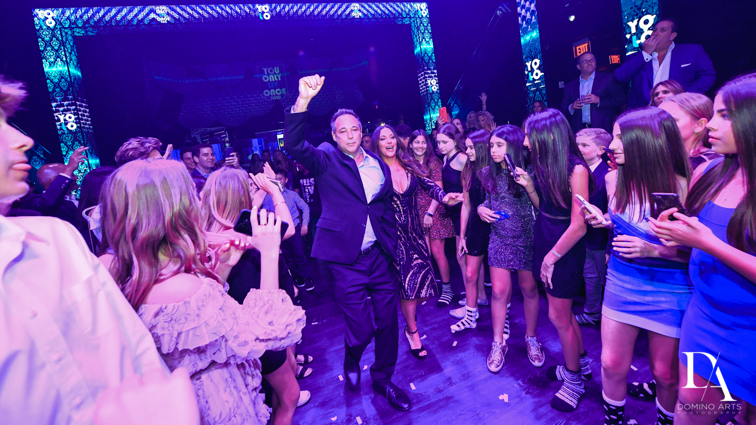 parent party entrance at Nightclub Bat Mitzvah at LIV in Fontainebleau Miami by Domino Arts Photography