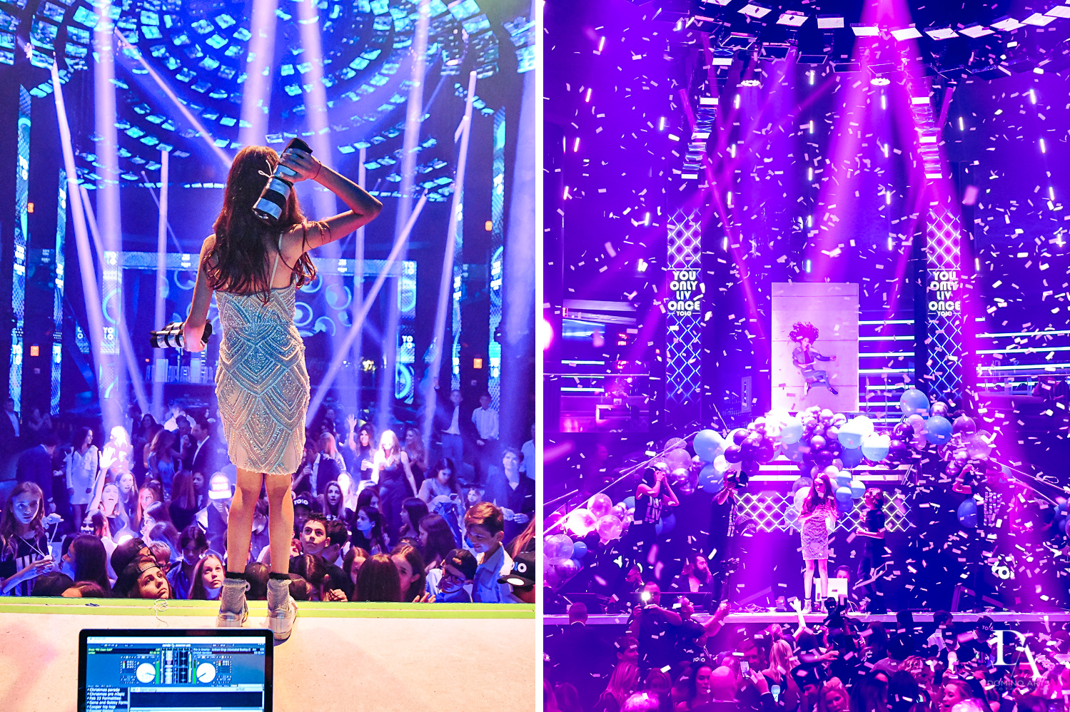 confetti blast at Nightclub Bat Mitzvah at LIV in Fontainebleau Miami by Domino Arts Photography