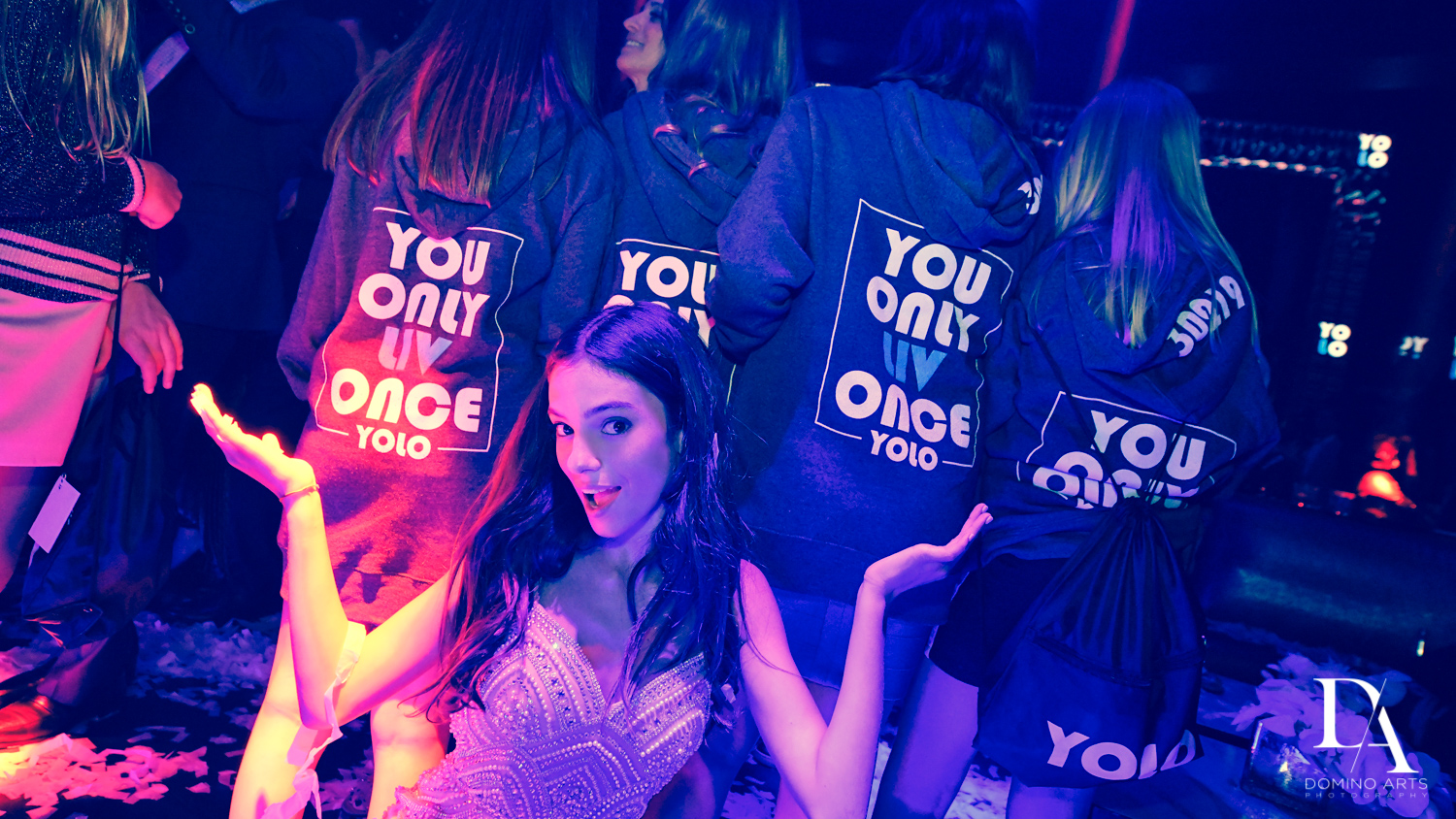 YOLO party favors at Nightclub Bat Mitzvah at LIV in Fontainebleau Miami by Domino Arts Photography