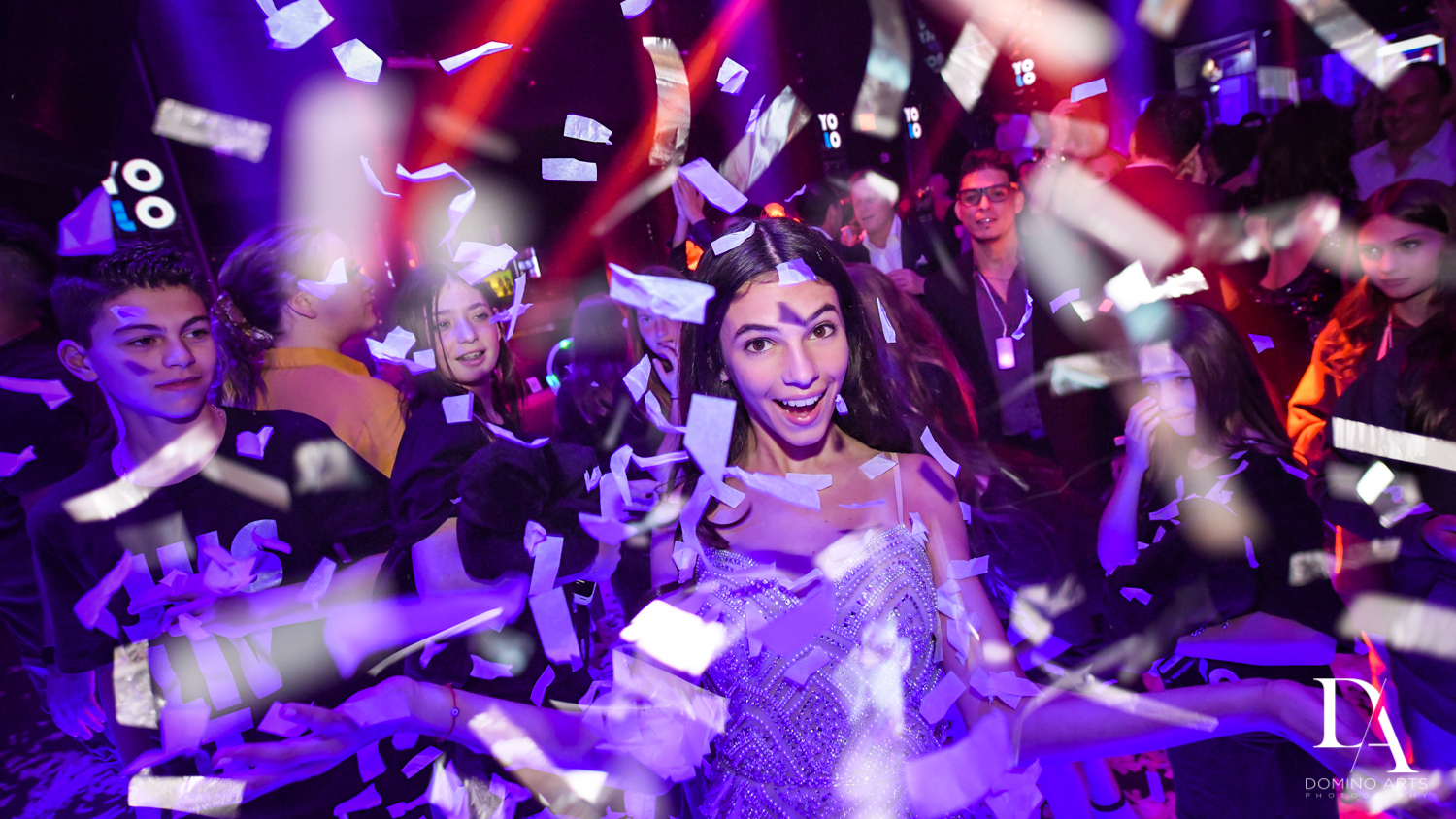 confetti explosion at Nightclub Bat Mitzvah at LIV in Fontainebleau Miami by Domino Arts Photography