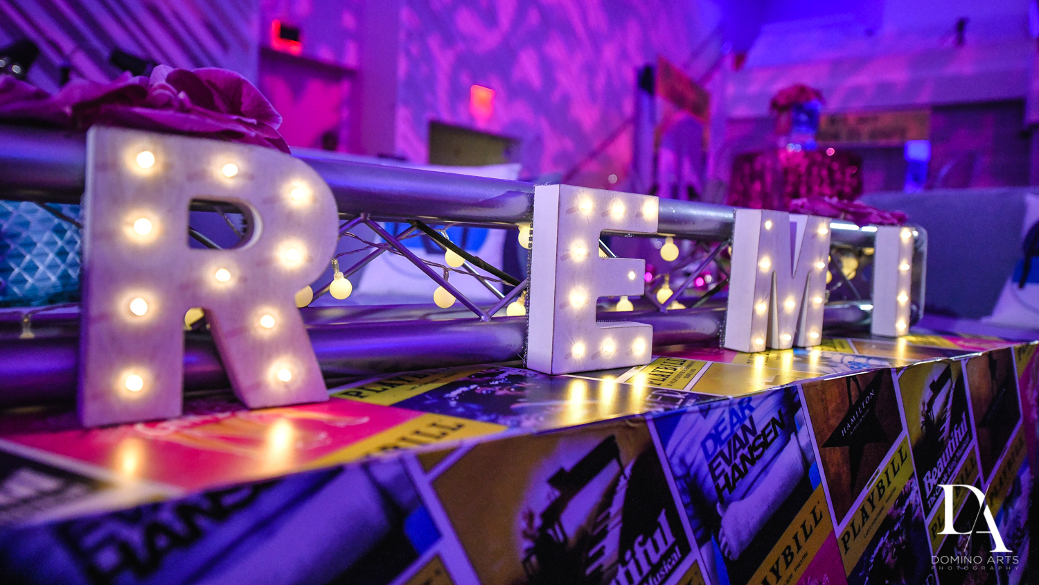 best decor at Luxurious Broadway Theme Bat Mitzvah at New World Symphony in Miami Beach by Domino Arts Photography