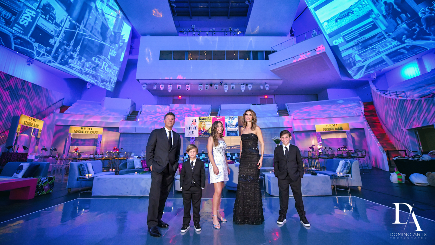 family photos at Luxurious Broadway Theme Bat Mitzvah at New World Symphony in Miami Beach by Domino Arts Photography