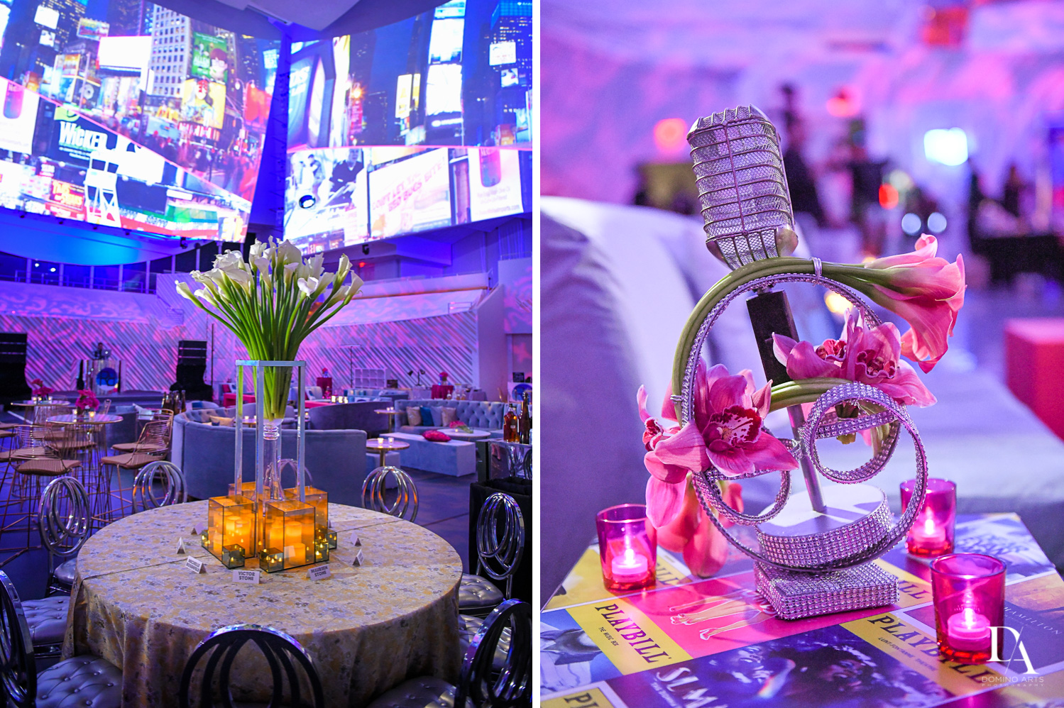 floral decor at Luxurious Broadway Theme Bat Mitzvah at New World Symphony in Miami Beach by Domino Arts Photography