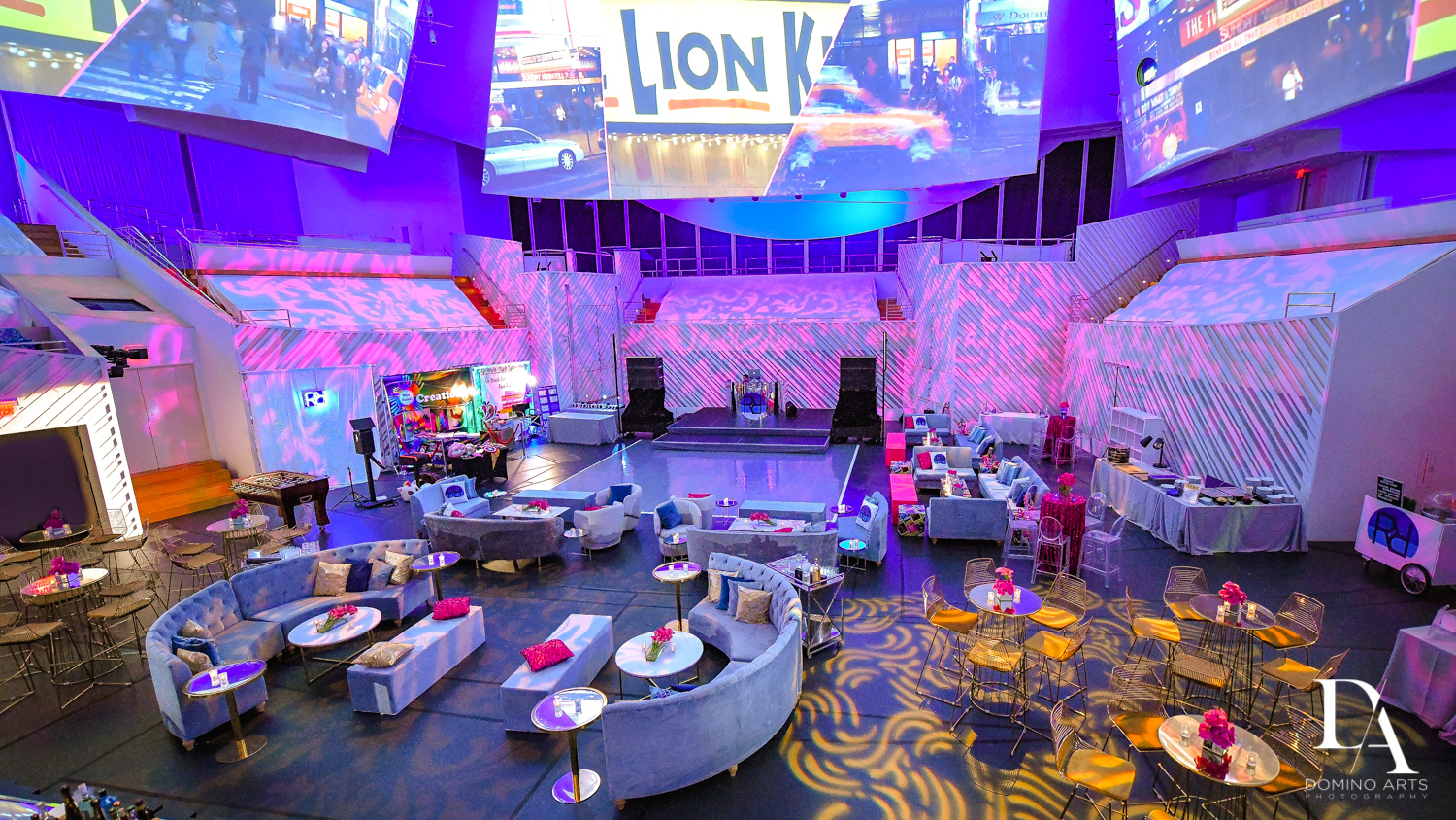 Amazing New York decor at Luxurious Broadway Theme Bat Mitzvah at New World Symphony in Miami Beach by Domino Arts Photography