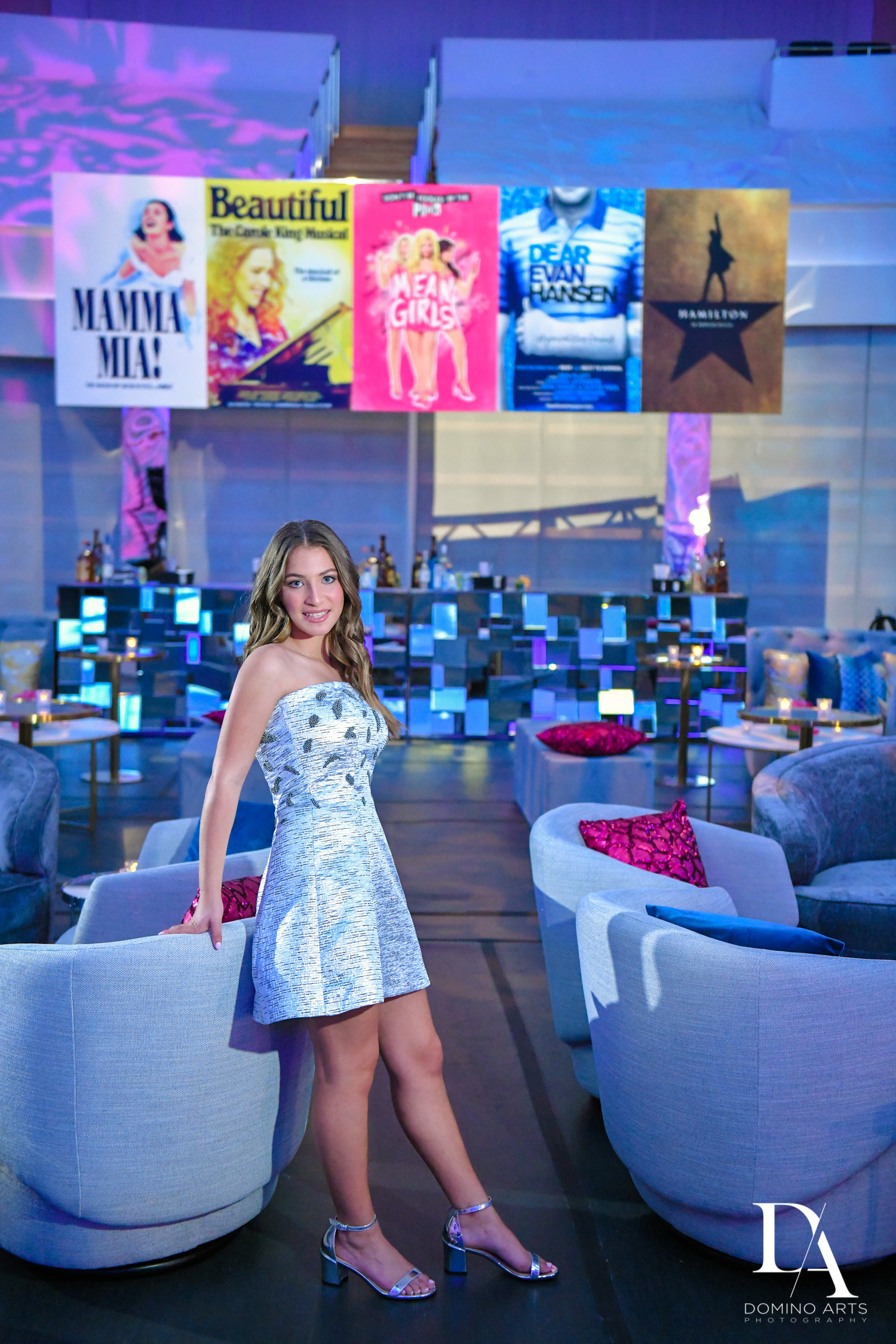 mitzvah portraits at Luxurious Broadway Theme Bat Mitzvah at New World Symphony in Miami Beach by Domino Arts Photography