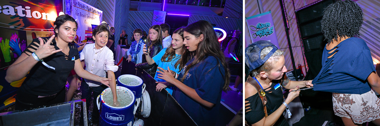 Fun kids activities at Luxurious Broadway Theme Bat Mitzvah at New World Symphony in Miami Beach by Domino Arts Photography