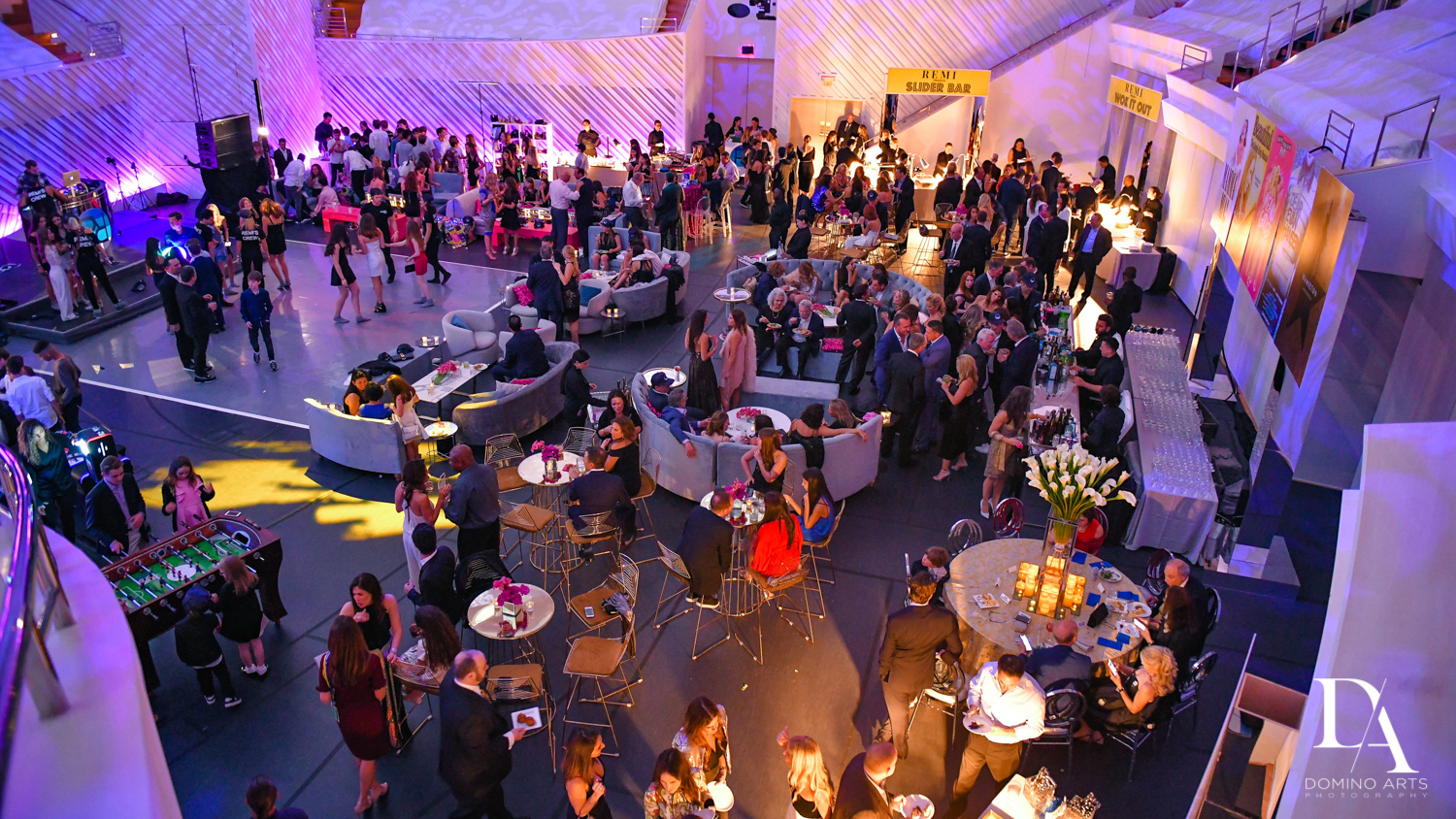 party at Luxurious Broadway Theme Bat Mitzvah at New World Symphony in Miami Beach by Domino Arts Photography