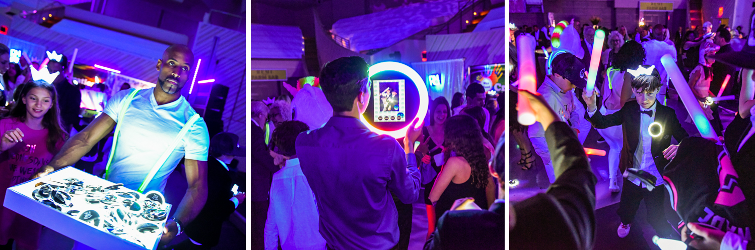 neon party favors at Luxurious Broadway Theme Bat Mitzvah at New World Symphony in Miami Beach by Domino Arts Photography
