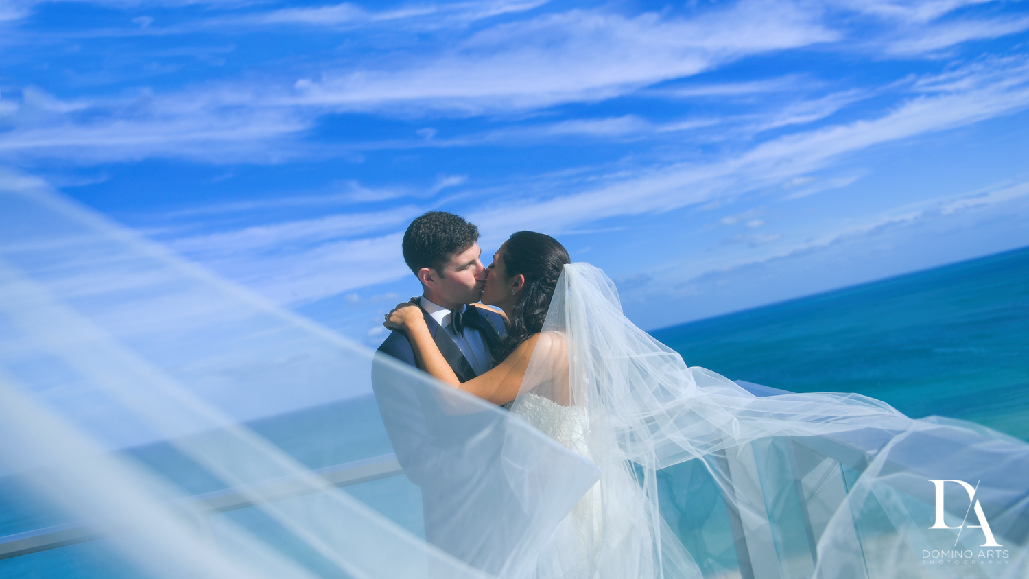 Beach portrait at Classic Miami Beach Wedding at Temple Emanu-El and Emanuel Luxury Venue by Domino Arts Photography