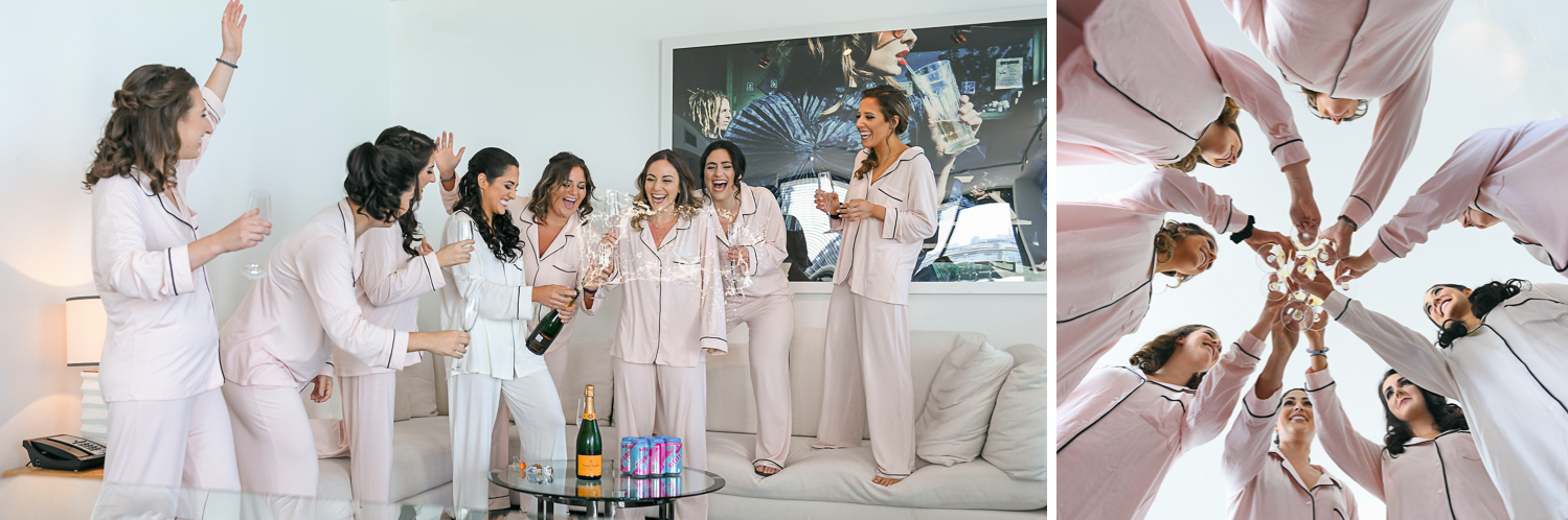 Fun Bridesmaids getting ready at W Hotel Miami by Domino Arts