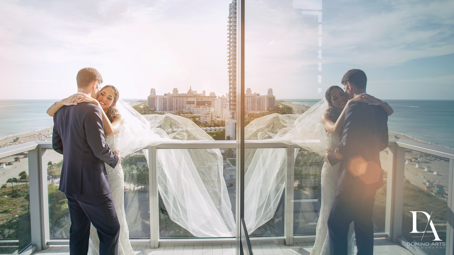 Romantic portraits miami beach wedding