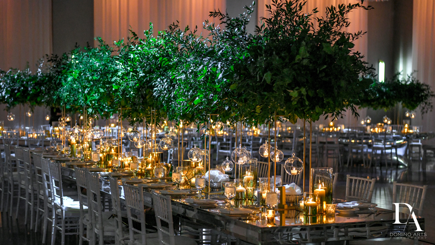 beautiful decor at Classic Miami Beach Wedding at Temple Emanu-El and Emanuel Luxury Venue by Domino Arts Photography