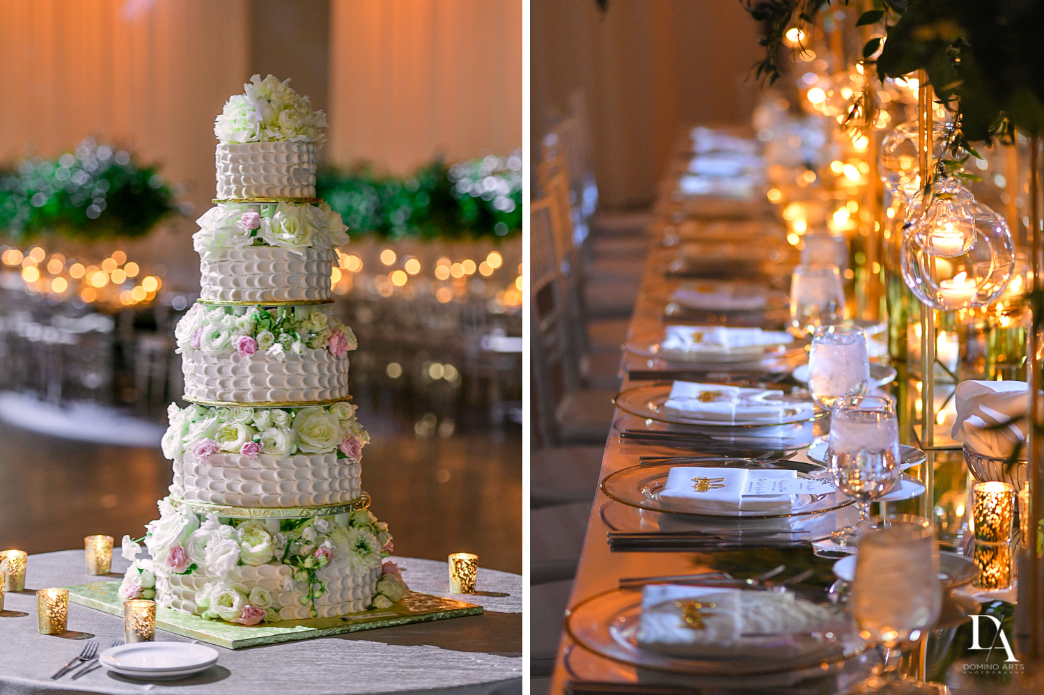 best cake and decor at Classic Miami Beach Wedding at Temple Emanu-El and Emanuel Luxury Venue by Domino Arts Photography