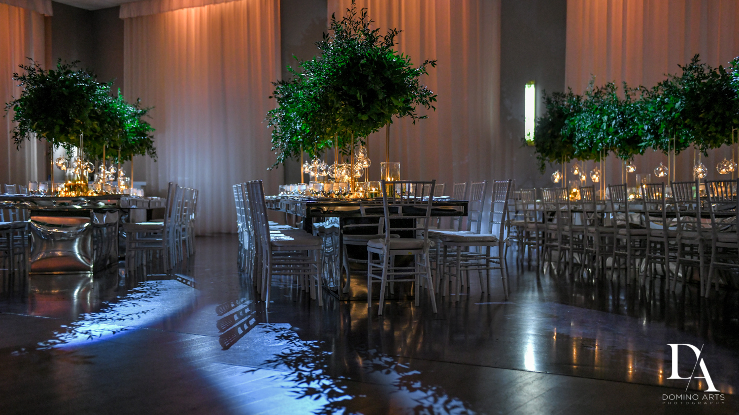 greenery decor at Classic Miami Beach Wedding at Temple Emanu-El and Emanuel Luxury Venue by Domino Arts Photography