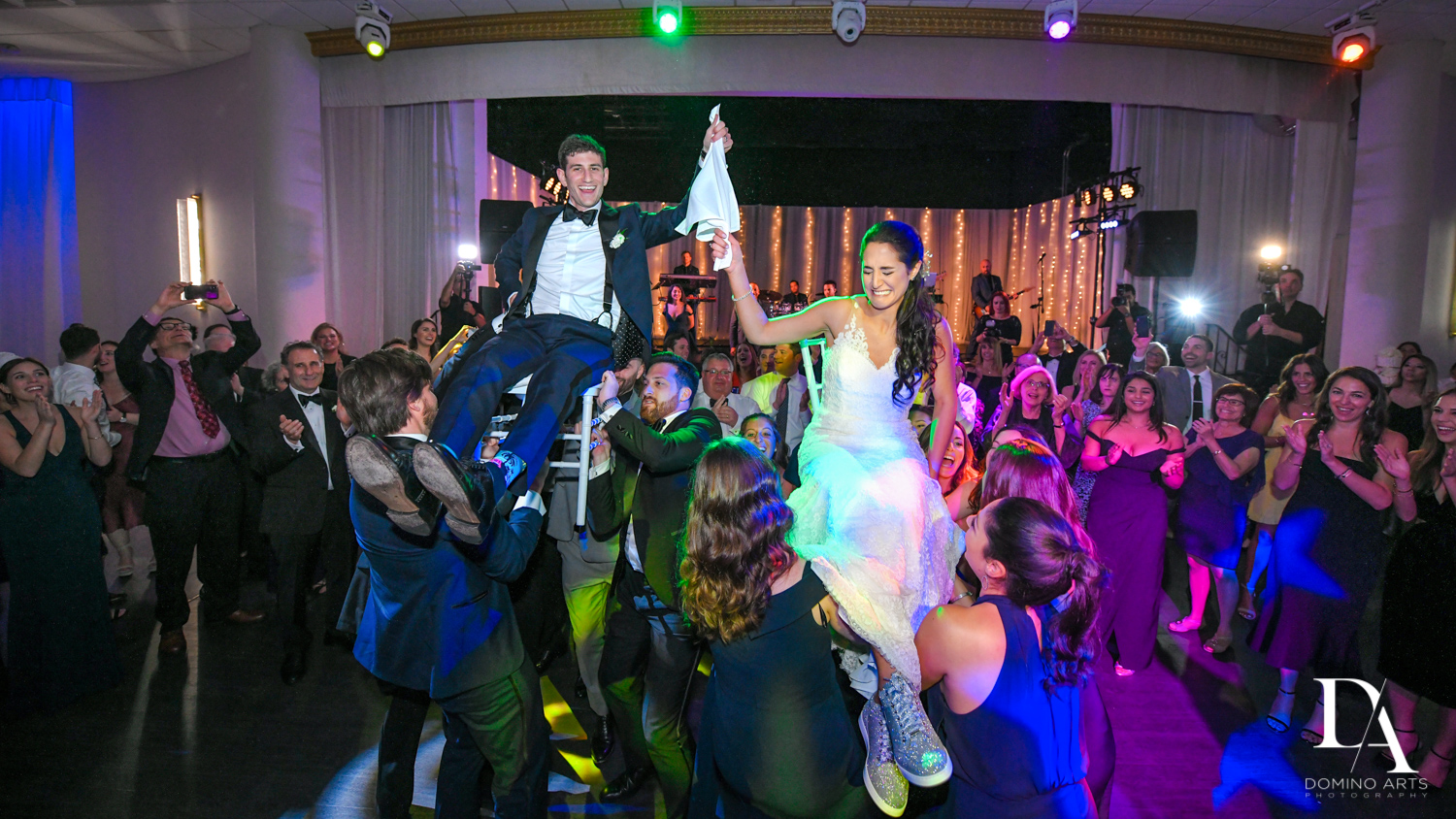 Fun hora at Classic Miami Beach Wedding at Temple Emanu-El and Emanuel Luxury Venue by Domino Arts Photography
