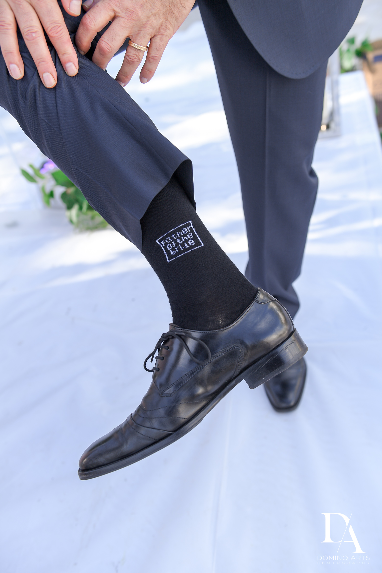 personalized socks at Fairy-Tale Wedding at BNai Torah Boca Raton by Domino Arts Photography