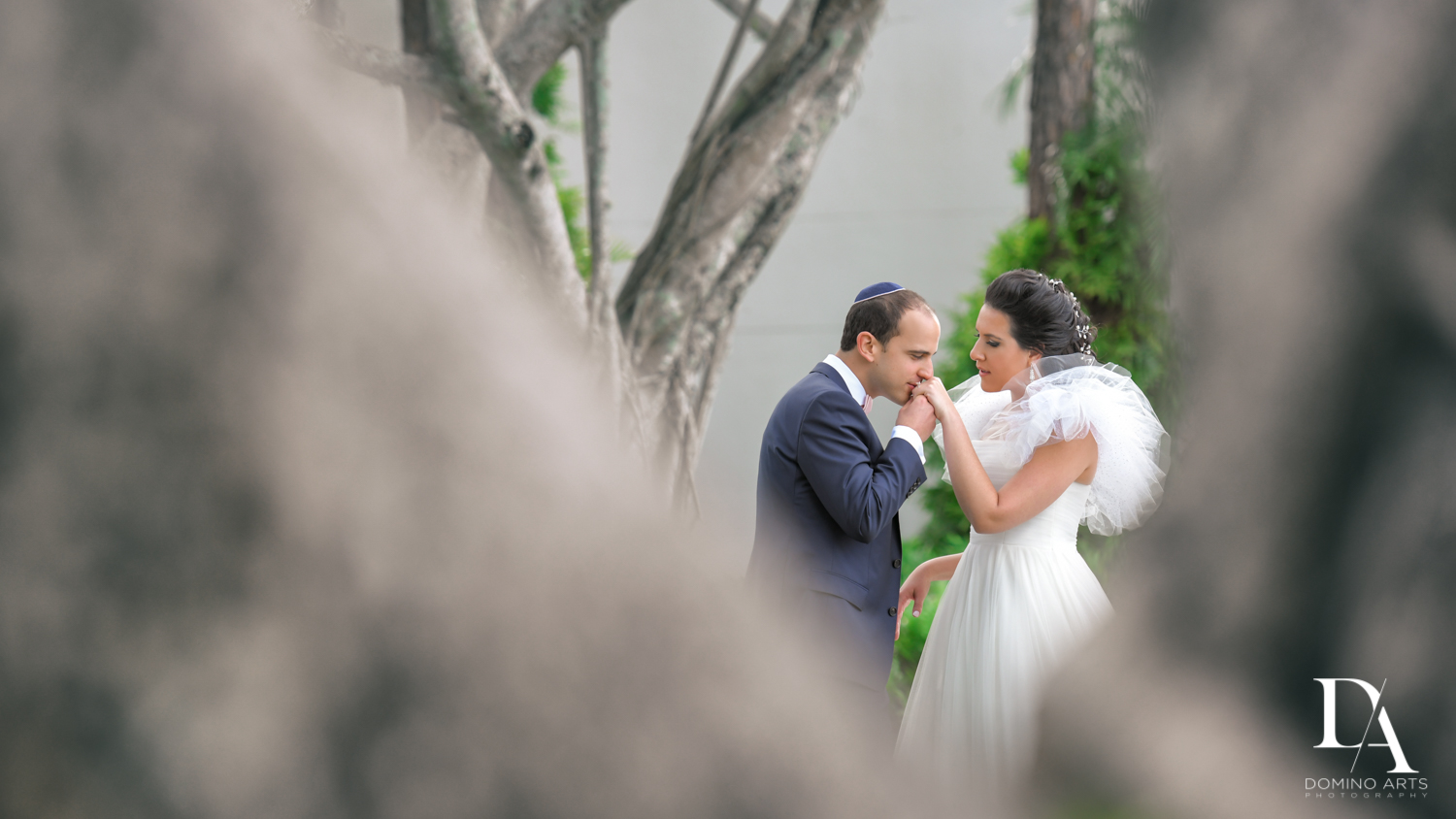 romantic bride and groom at Fairy-Tale Wedding at BNai Torah Boca Raton by Domino Arts Photography
