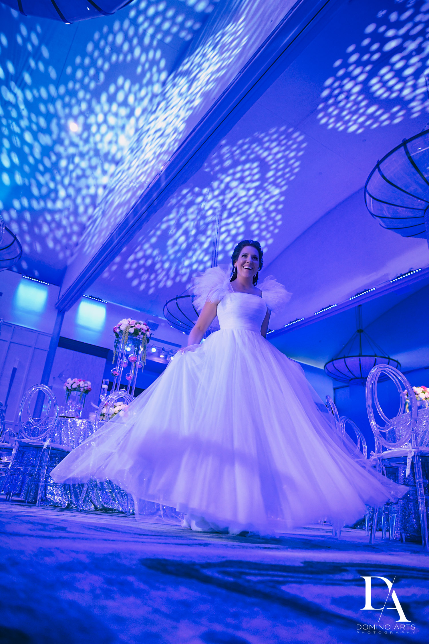 blue decir at Fairy-Tale Wedding at BNai Torah Boca Raton by Domino Arts Photography