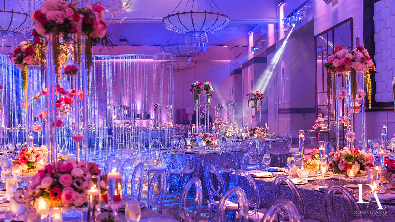 luxury floral decor at Fairy-Tale Wedding at BNai Torah Boca Raton by Domino Arts Photography