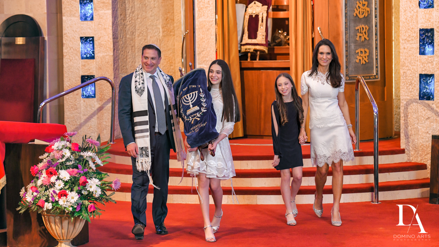 fa,ily at Luxury Celebrity Bat Mitzvah at Four Seasons Hotel Miami by Domino Arts Photography