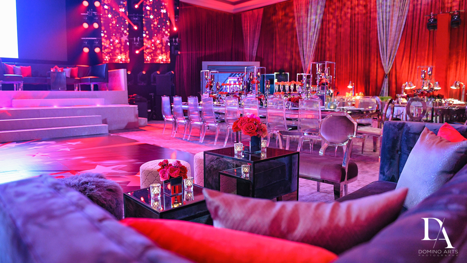 purple red decor at Luxury Celebrity Bat Mitzvah at Four Seasons Hotel Miami by Domino Arts Photography