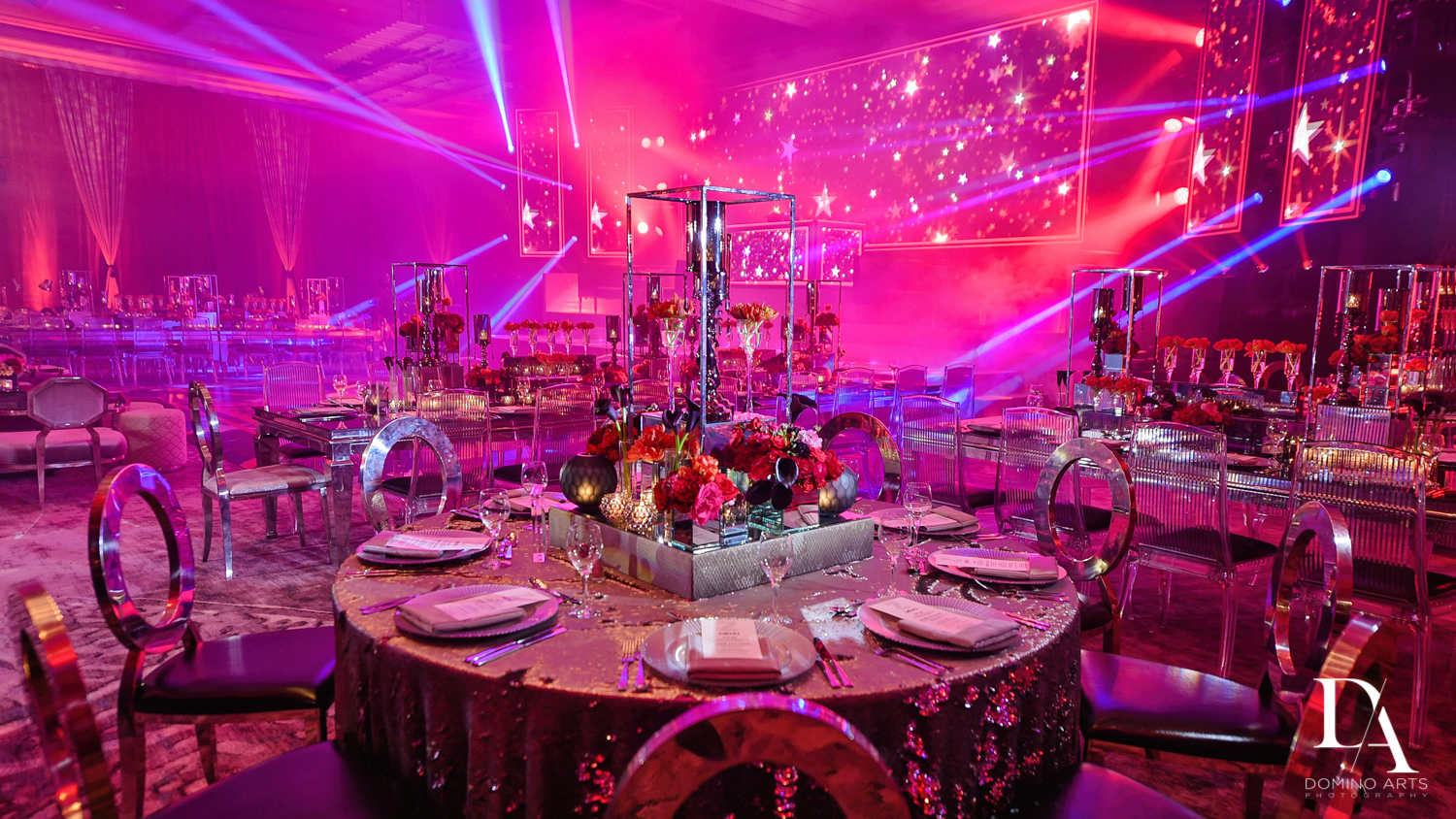 table setting at Luxury Celebrity Bat Mitzvah at Four Seasons Hotel Miami by Domino Arts Photography