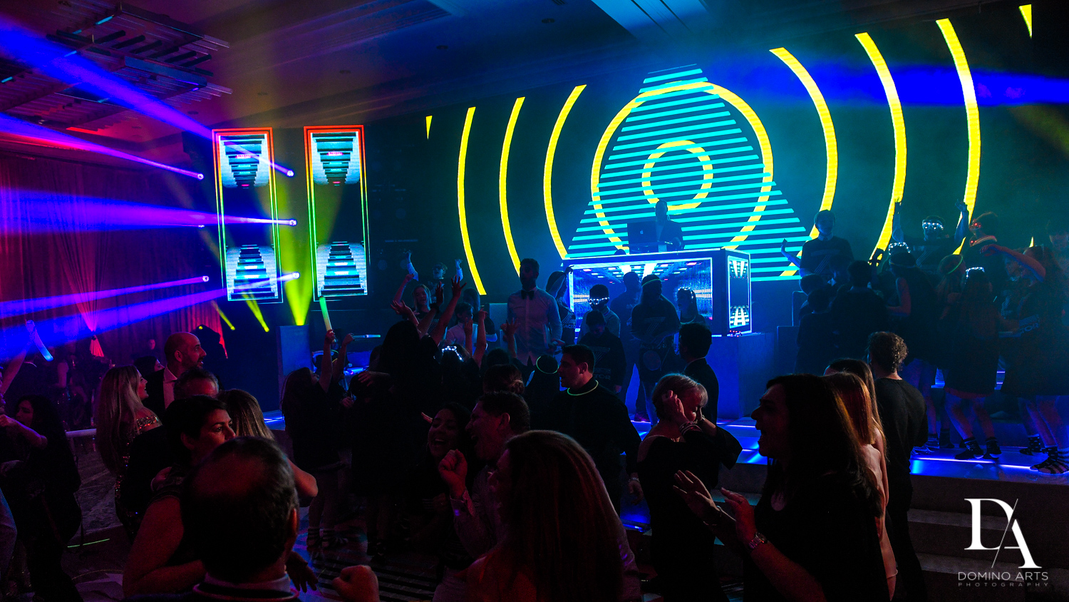laser lighting at Luxury Celebrity Bat Mitzvah at Four Seasons Hotel Miami by Domino Arts Photographylaser lighting
