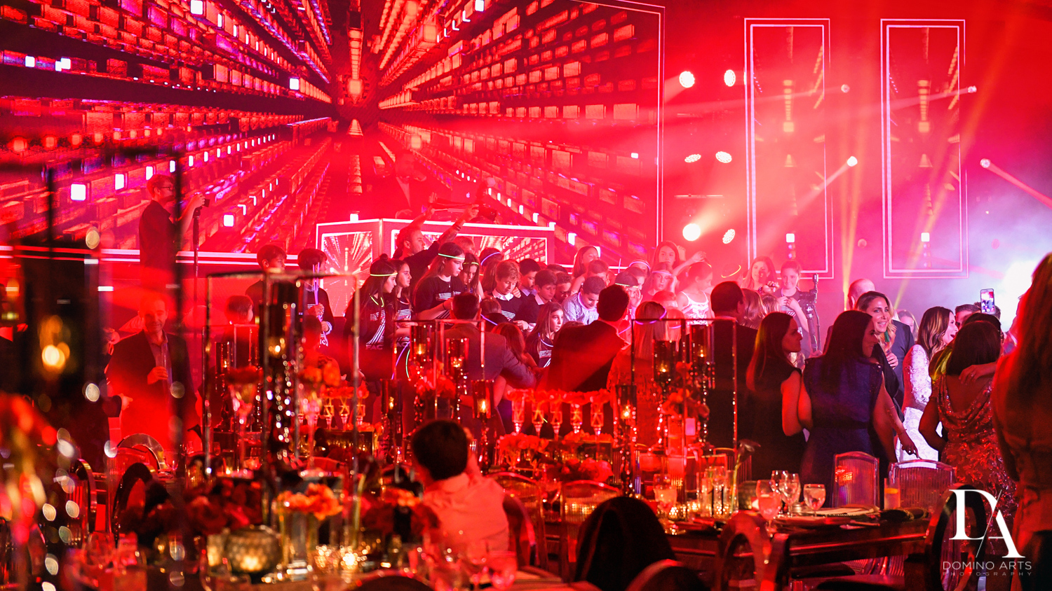 red room at Luxury Celebrity Bat Mitzvah at Four Seasons Hotel Miami by Domino Arts Photography