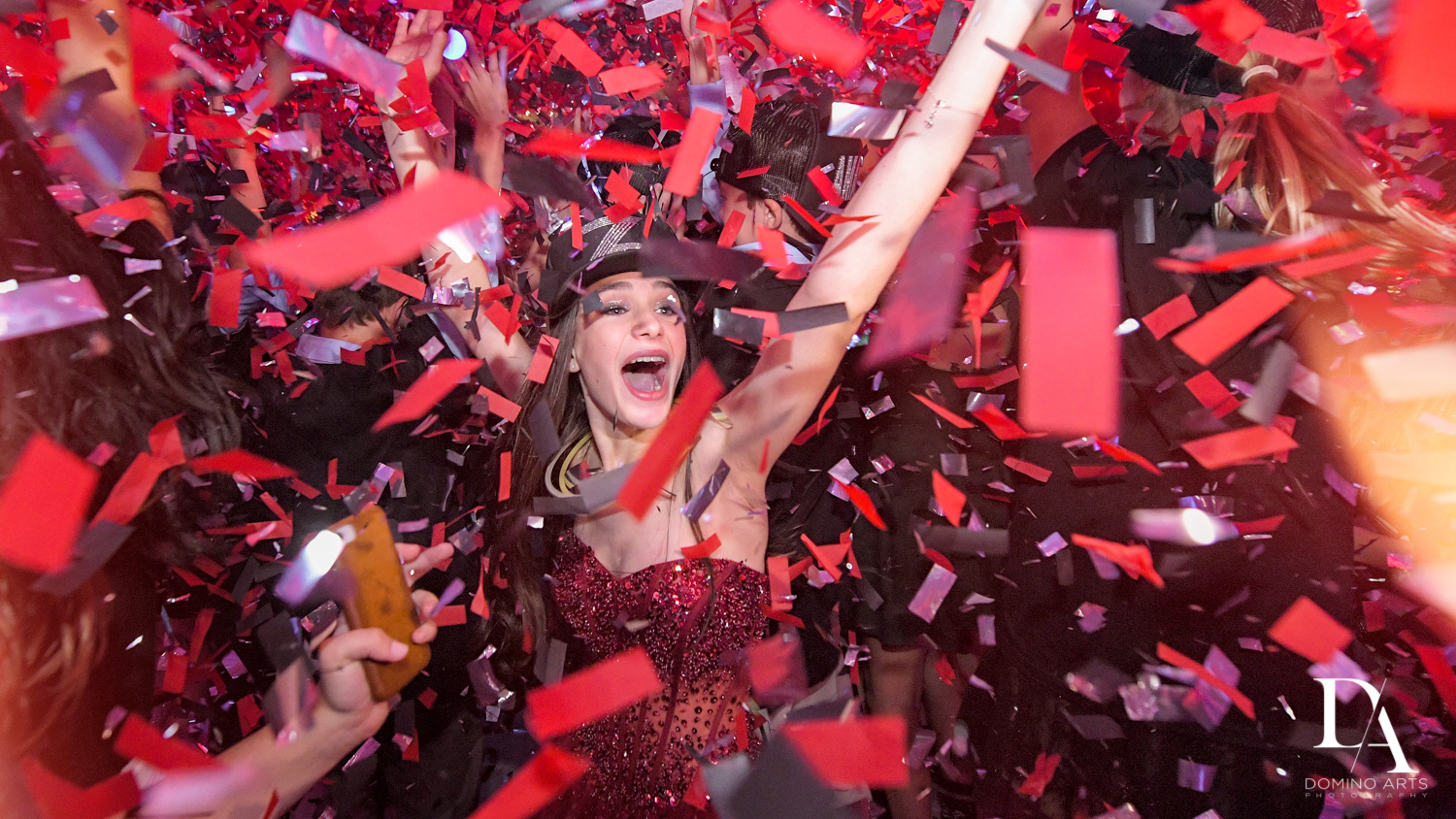 crazy confetti at Luxury Celebrity Bat Mitzvah at Four Seasons Hotel Miami by Domino Arts Photography