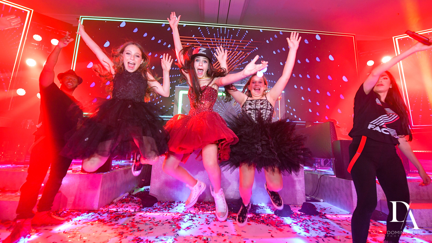 dancing fun at Luxury Celebrity Bat Mitzvah at Four Seasons Hotel Miami by Domino Arts Photography
