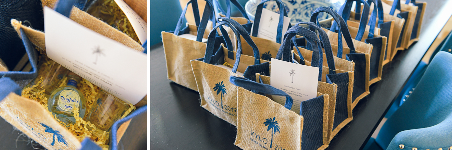 Giftbags at Tropical Garden Wedding at Fisher Island Miami by Domino Arts Photography