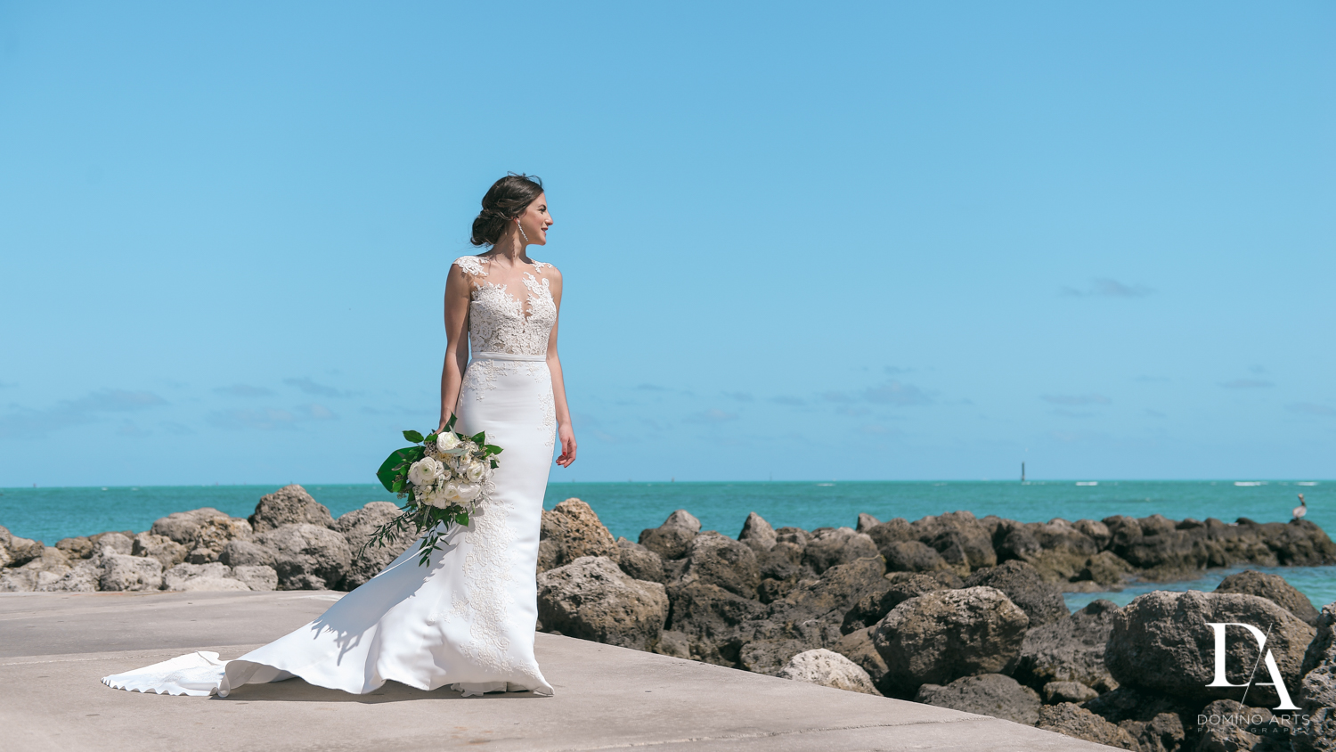 bride at Tropical Garden Wedding at Fisher Island Miami by Domino Arts Photography