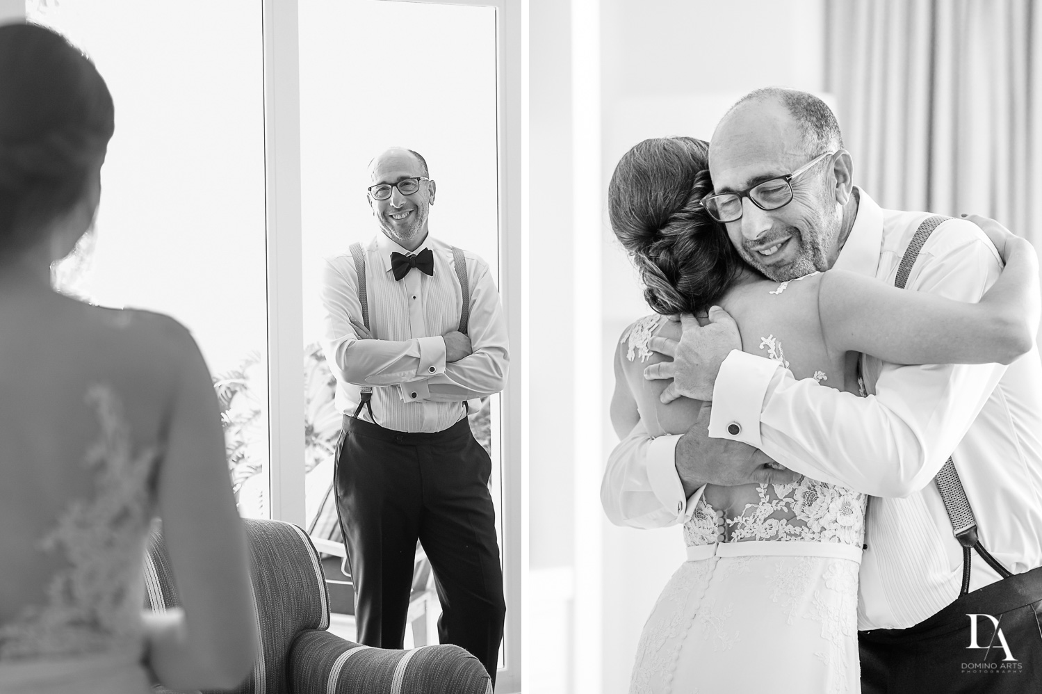 father of the bride at Tropical Garden Wedding at Fisher Island Miami by Domino Arts Photography