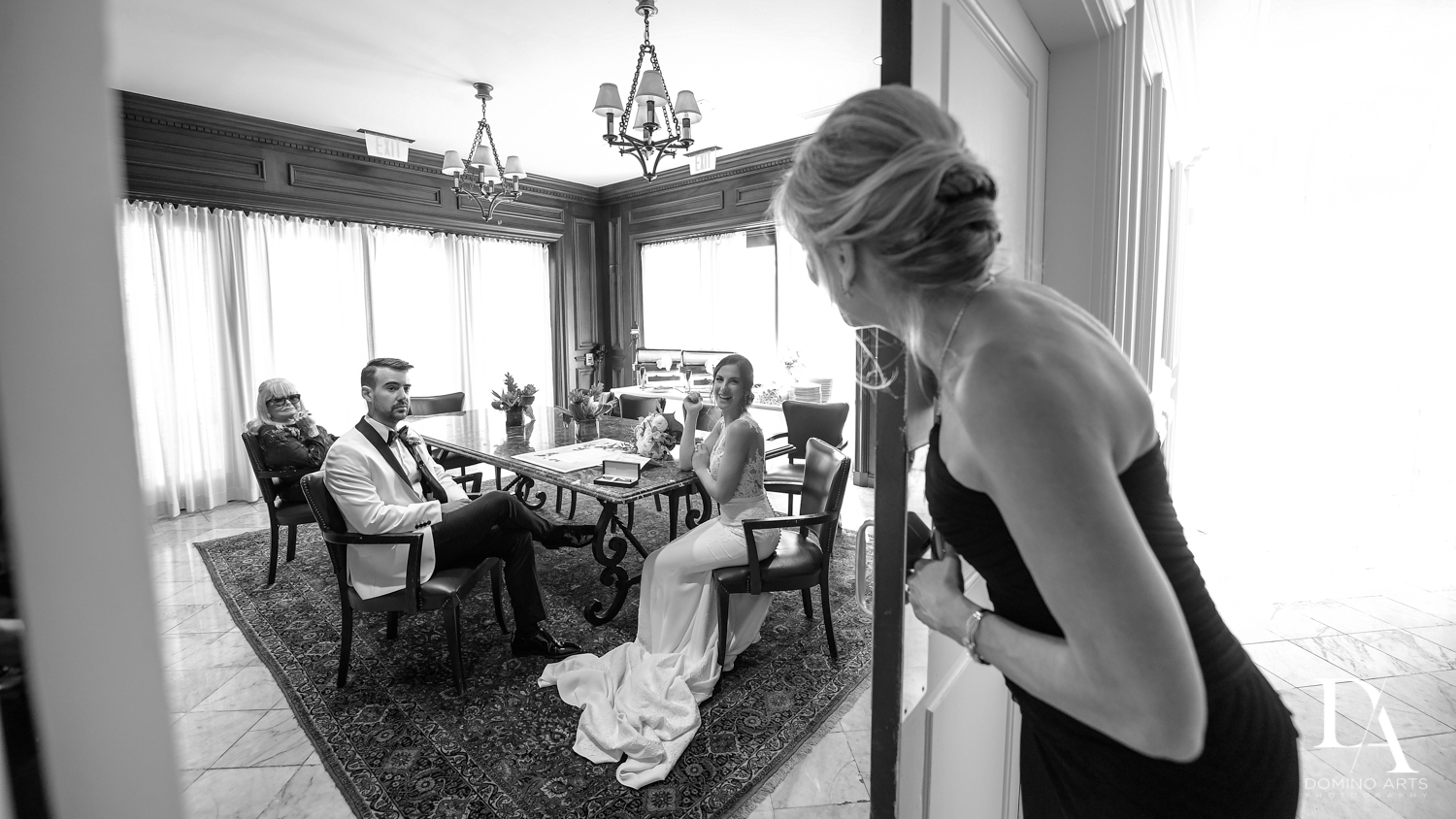 B&W phtos at Tropical Garden Wedding at Fisher Island Miami by Domino Arts Photography