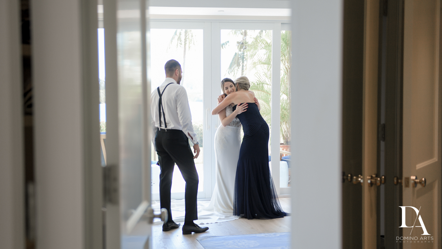 bride and parents at Tropical Garden Wedding at Fisher Island Miami by Domino Arts Photography