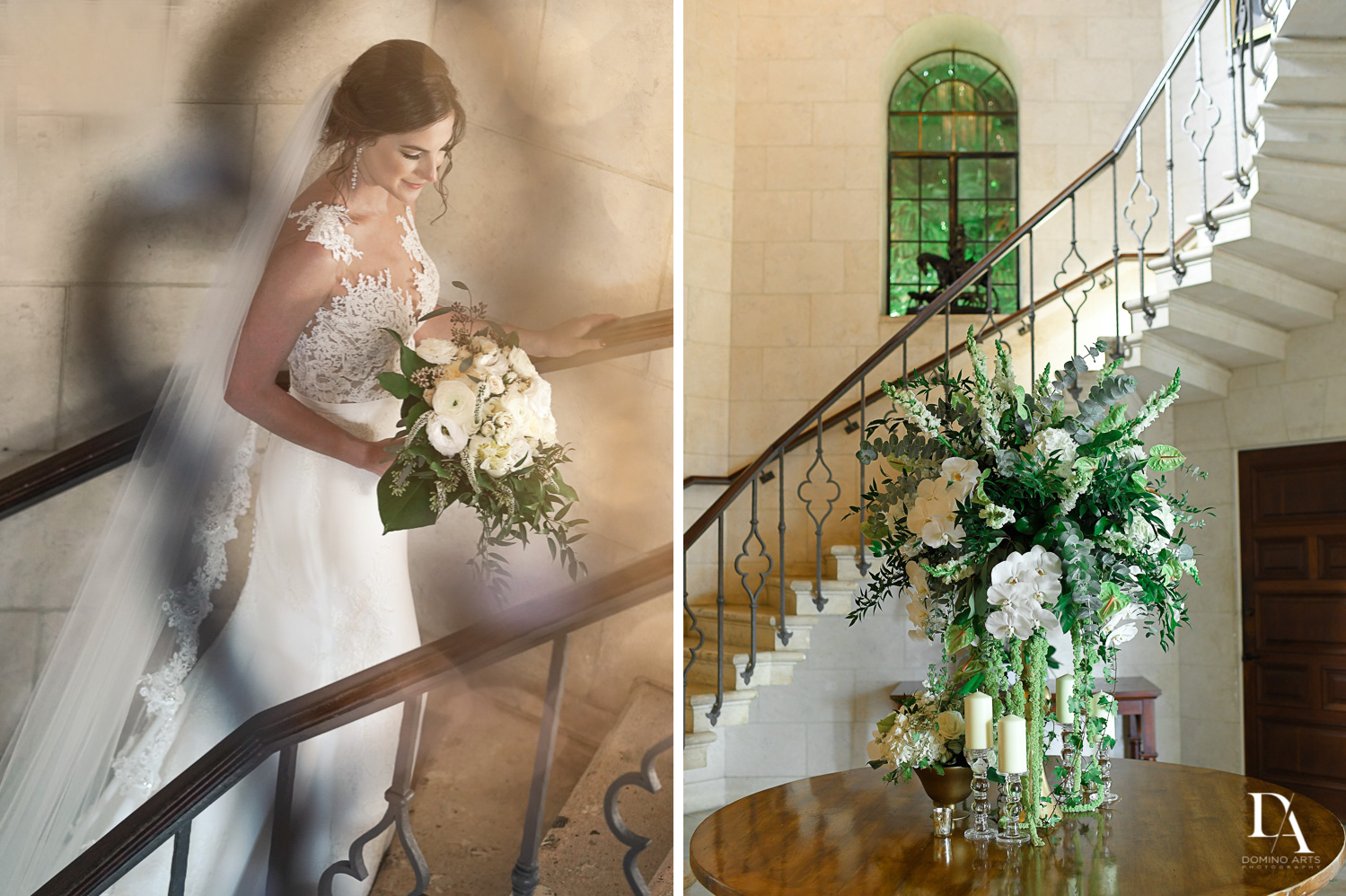 stairway at Tropical Garden Wedding at Fisher Island Miami by Domino Arts Photography