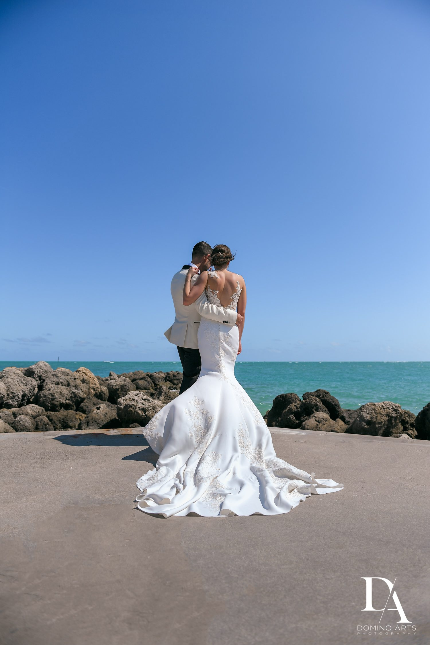 ocean view at Tropical Garden Wedding at Fisher Island Miami by Domino Arts Photography