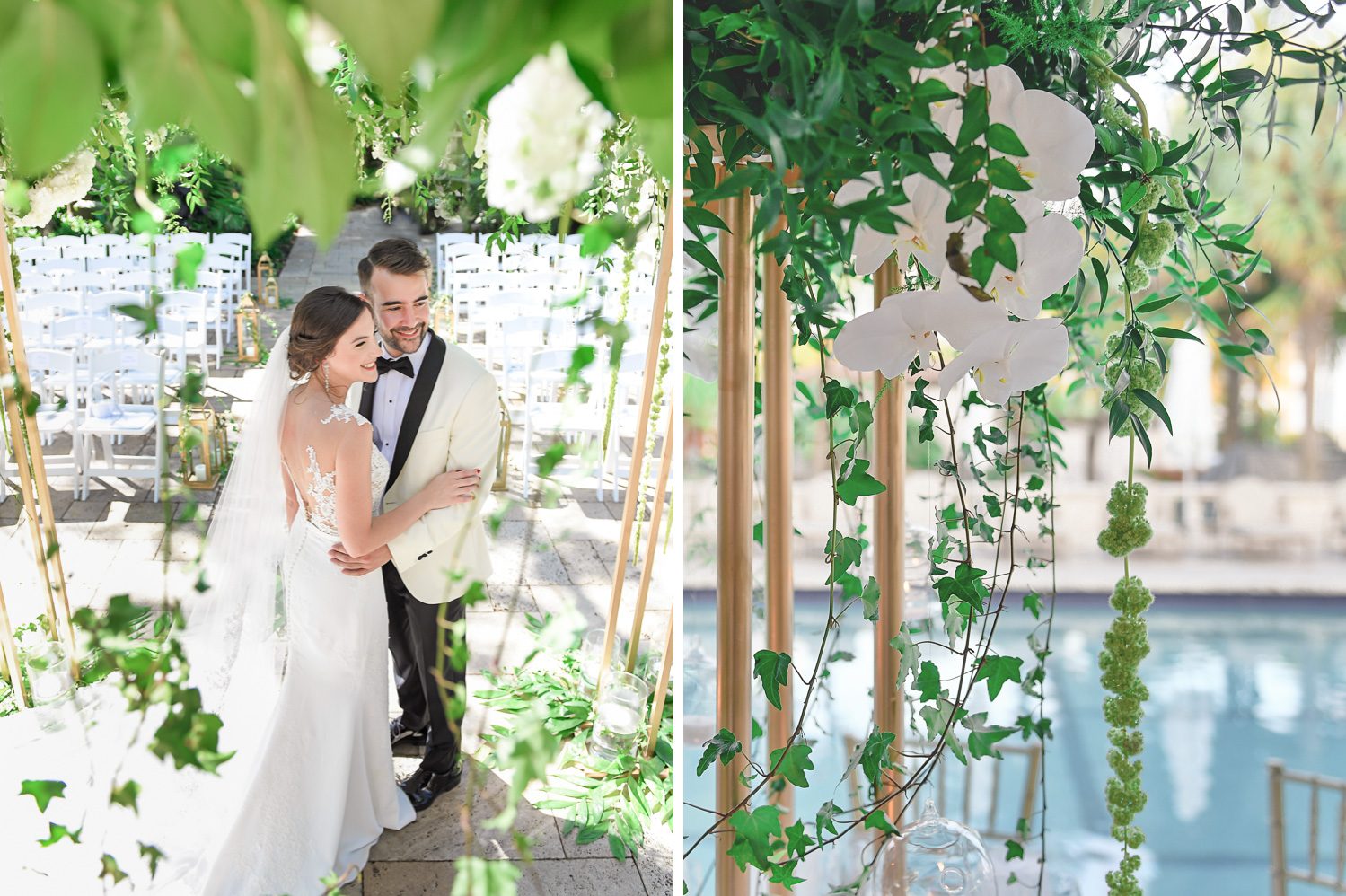 beautiful chuppah at Tropical Garden Wedding at Fisher Island Miami by Domino Arts Photography