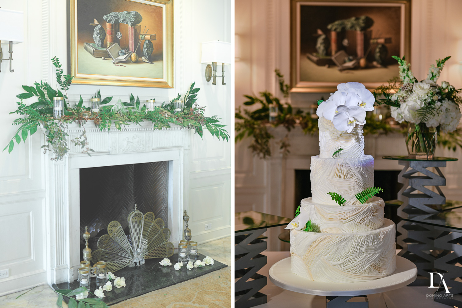 wedding cake at Tropical Garden Wedding at Fisher Island Miami by Domino Arts Photography