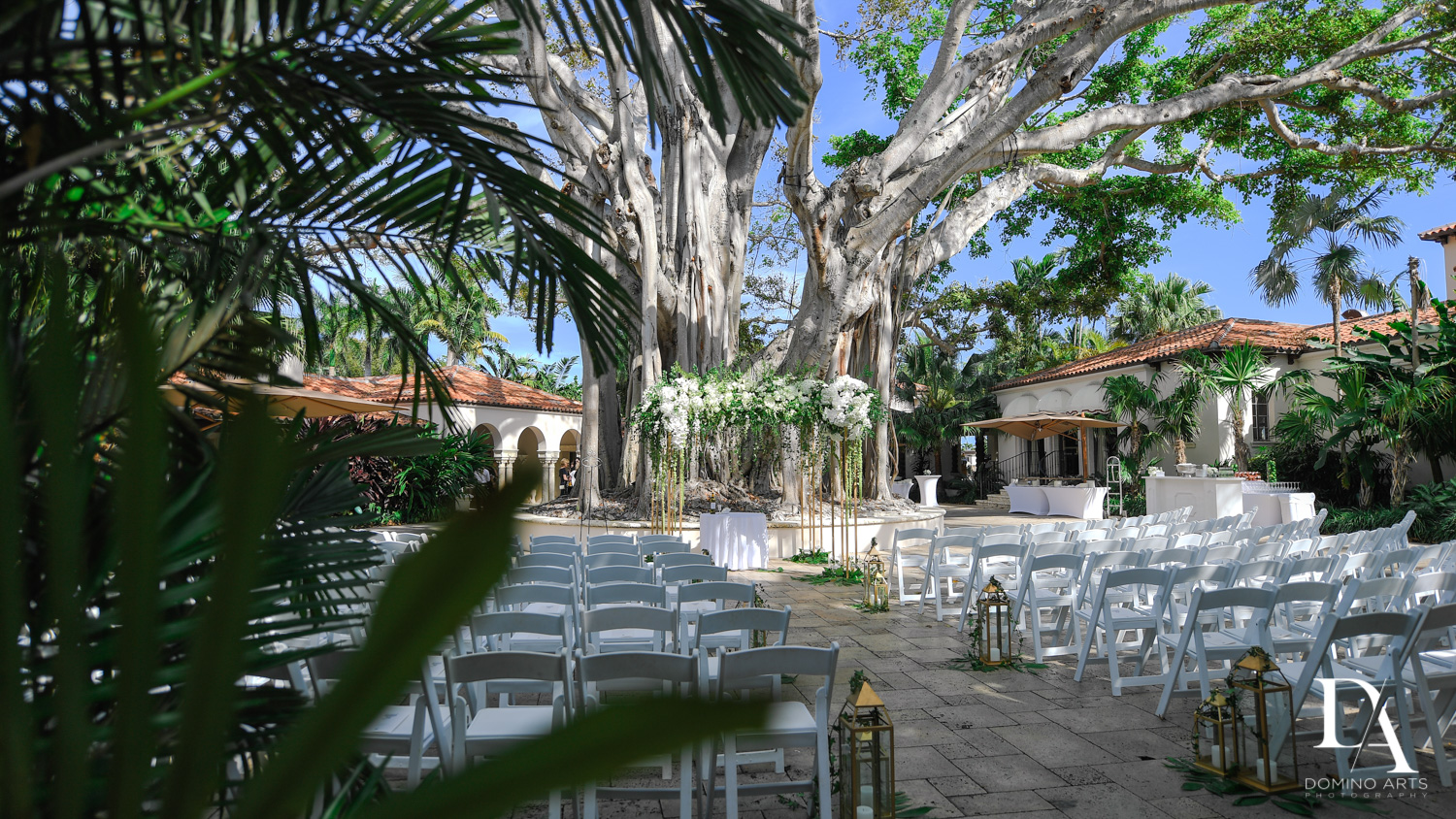 best outdoor decor at Tropical Garden Wedding at Fisher Island Miami by Domino Arts Photography