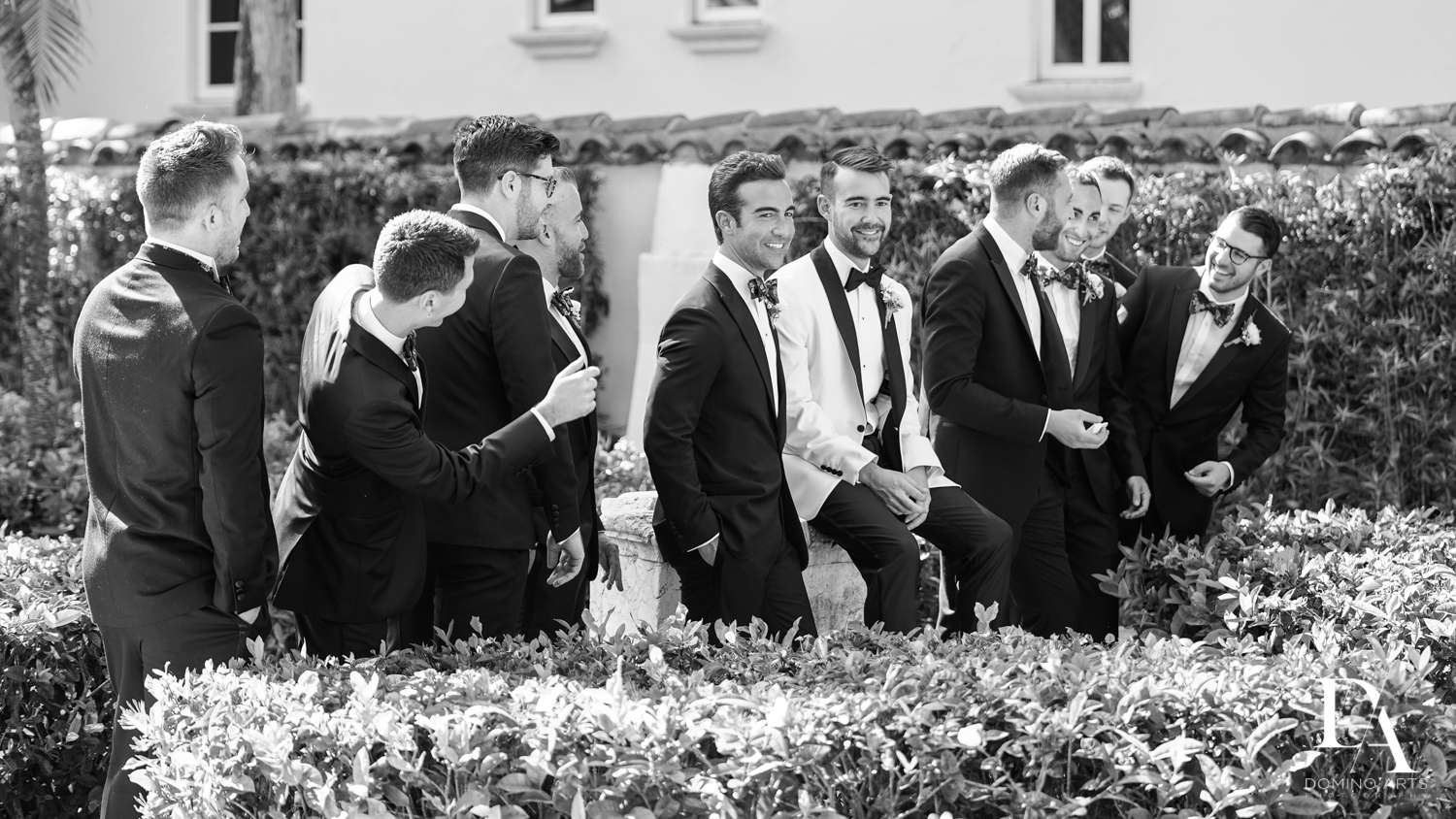 groomsmen at Tropical Garden Wedding at Fisher Island Miami by Domino Arts Photography