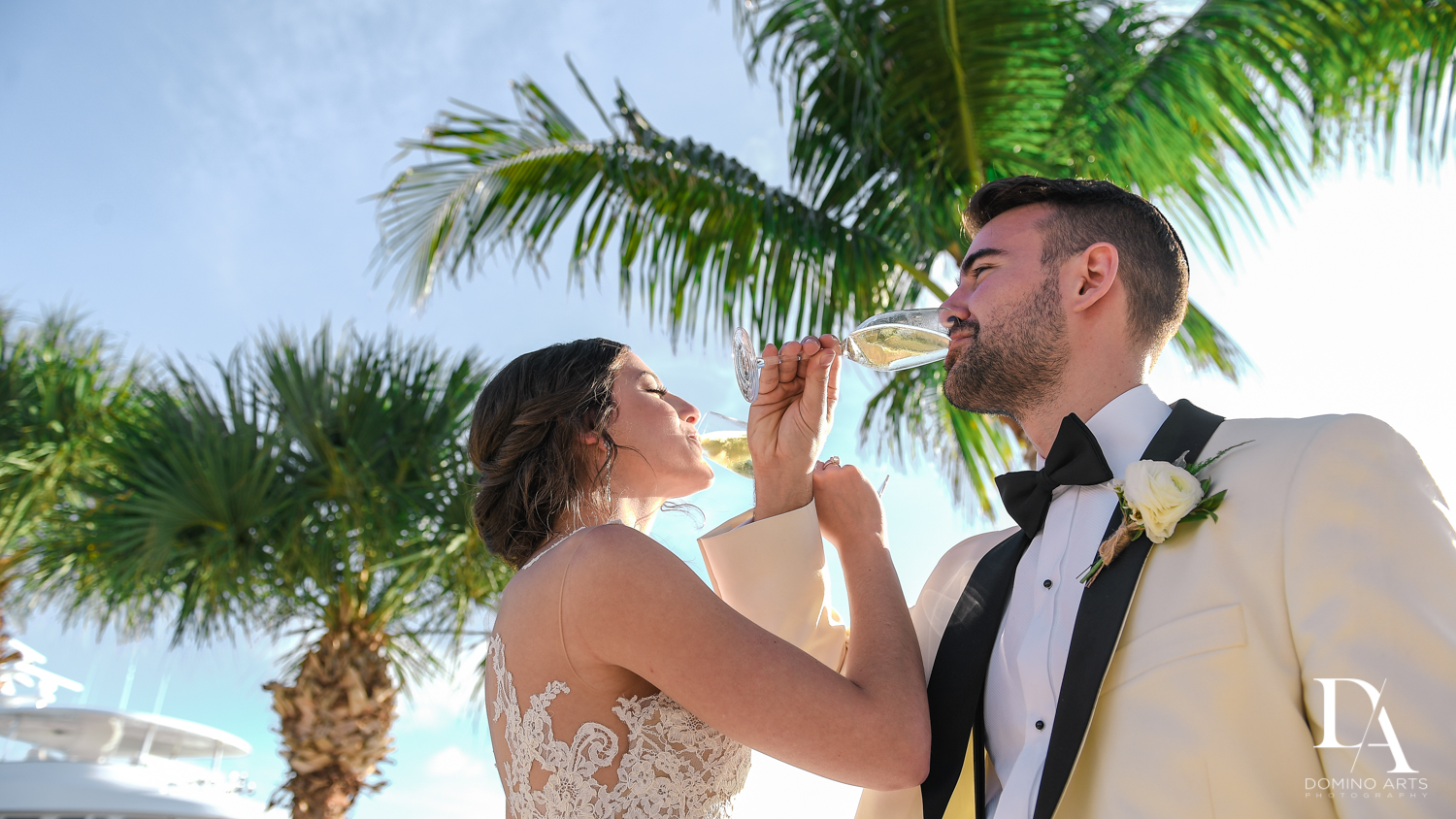tropical toast at Tropical Garden Wedding at Fisher Island Miami by Domino Arts Photography