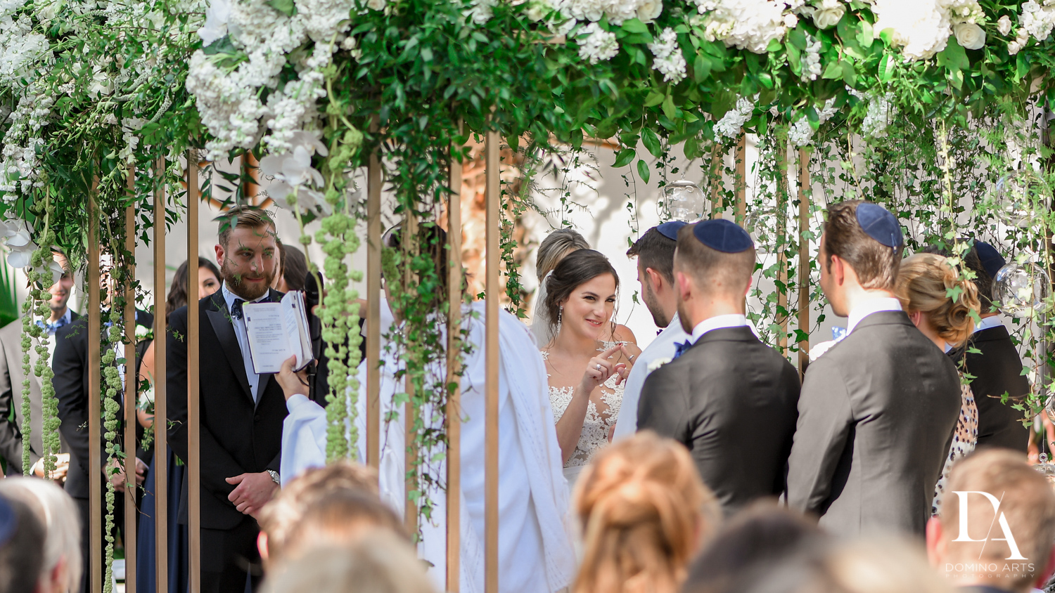 jewish ceremony at Tropical Garden Wedding at Fisher Island Miami by Domino Arts Photography
