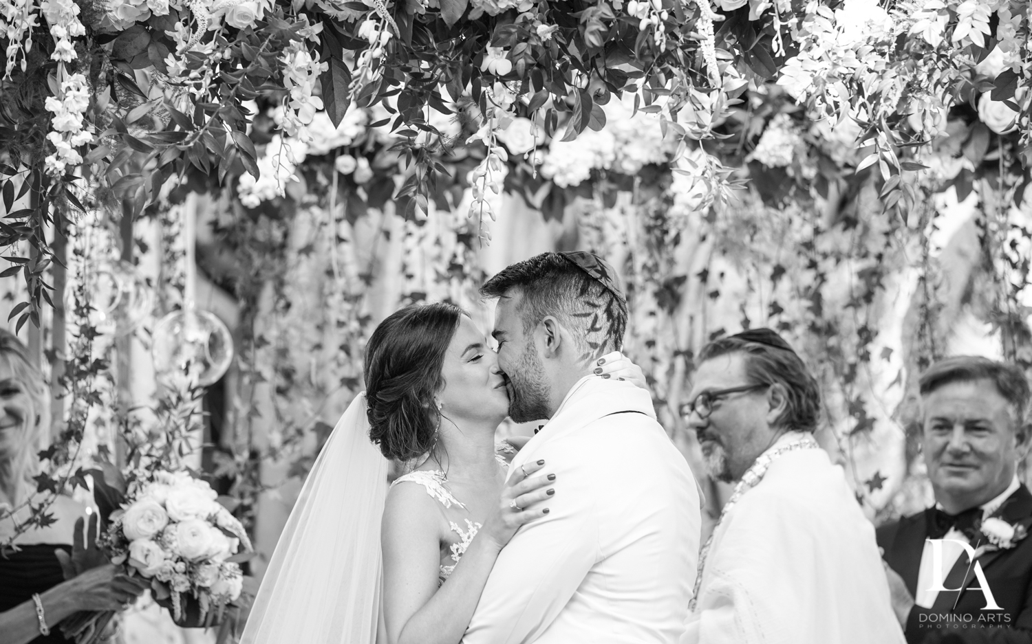 best B&W kiss at Tropical Garden Wedding at Fisher Island Miami by Domino Arts Photography