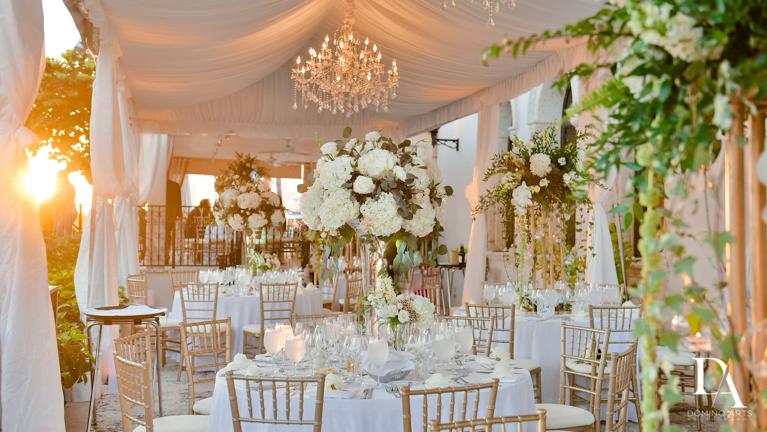 best decor at Tropical Garden Wedding at Fisher Island Miami by Domino Arts Photography